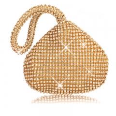ISEEN Brand Dream Women's Heart-Design Evening Clutches Bags with Crystal Diamonds Golden 17cm-5cm-11cm