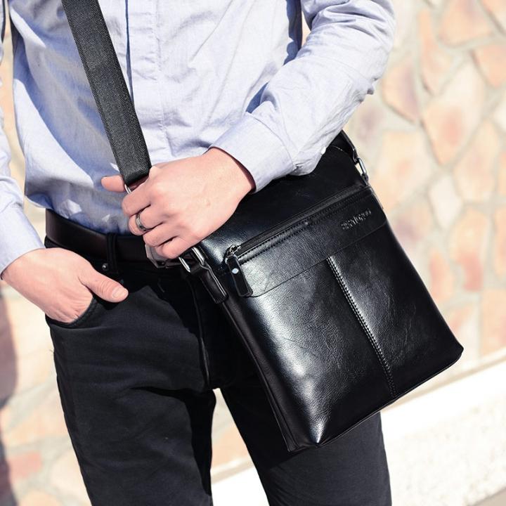ISEEN Brand shoulders bag Messenger Bags Business Bag for Men Multifunctional PU Leather Black 29cm-26cm-5cm