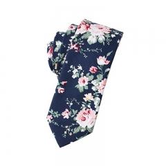 ISEEN Brand Men's Fashion Cotton Printed Floral Neck Tie A 144cm*6cm