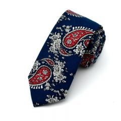ISEEN Brand Men's Fashion Cotton Printed Floral Neck Tie b 144cm*6cm