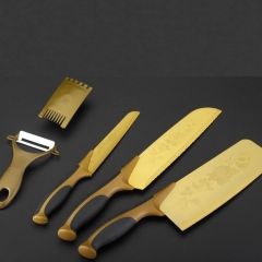 ISEEN Brand Kitchen 5 Knives Set-with Rose Pattern golden