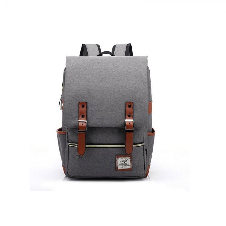 ISEEN Brand Canvas Business Laptop Backpack, Slim Anti Theft Computer Bag,  College School Backpack light grey 39cm*42cm*5cm