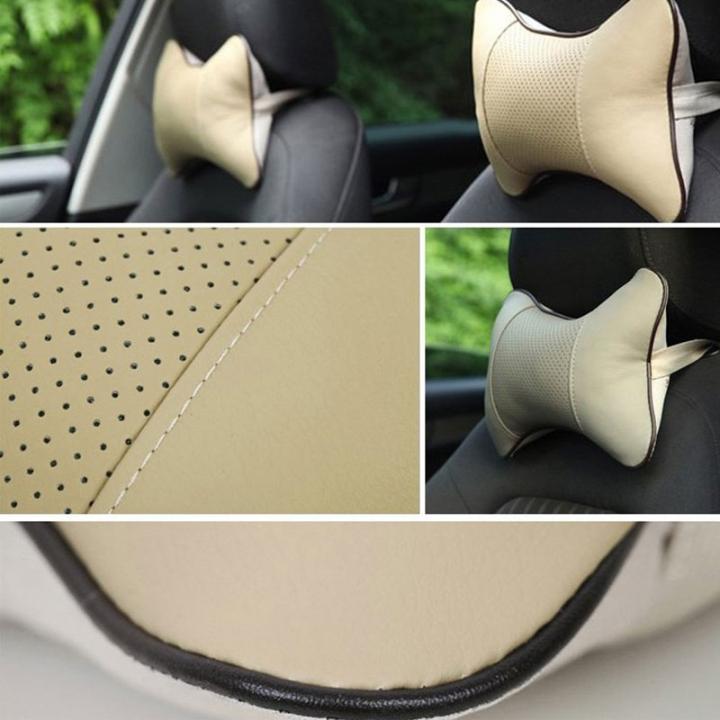 ISEEN Brand 2PCS Car Neck Pillow Rest Pillow Pad Cushion Beige Colour