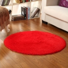 ISEEN Brand Indoor Circle Design Modern Area Rugs Fluffy Living Room Carpets Suitable for Home red 80cm-80cm-4.5cm