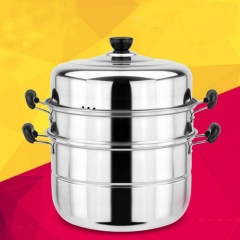 ISEEN Brand 28CM 3 Pieces Stainless Steel Stack and Steam Pot Set