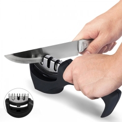 ISEEN Brand Kitchen Knife Sharpener - 3-Stage Knife Sharpening Tool Helps Repair, Restore and Polish black 20cm