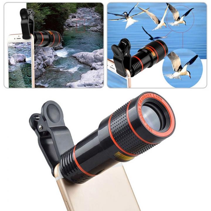 ISEEN Brand Mobile Phone Telephoto Lens HD 12X Zoom Optical Telescope Camera Lens with Clips black 12x 8.5cm-3cm-3cm