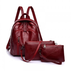 ISEEN Brand Women Backpack Purse PU Leather Ladies girl 3 Pcs Shoulder Bag Card handbag Wine Red 33cm-35cm-2cm