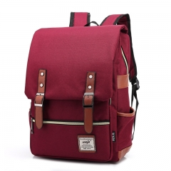 ISEEN Brand Canvas Business Laptop Backpack, Slim Anti Theft Computer Bag,  College School Backpack wine red 39cm*42cm*5cm