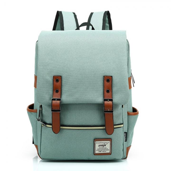ISEEN Brand Canvas Business Laptop Backpack, Slim Anti Theft Computer Bag,  College School Backpack light green 39cm*42cm*5cm