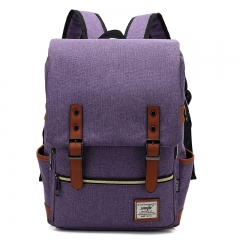 ISEEN Brand Canvas Business Laptop Backpack, Slim Anti Theft Computer Bag,  College School Backpack purple 39cm*42cm*5cm