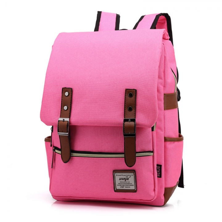 ISEEN Brand Canvas Business Laptop Backpack, Slim Anti Theft Computer Bag,  College School Backpack rose red 39cm*42cm*5cm