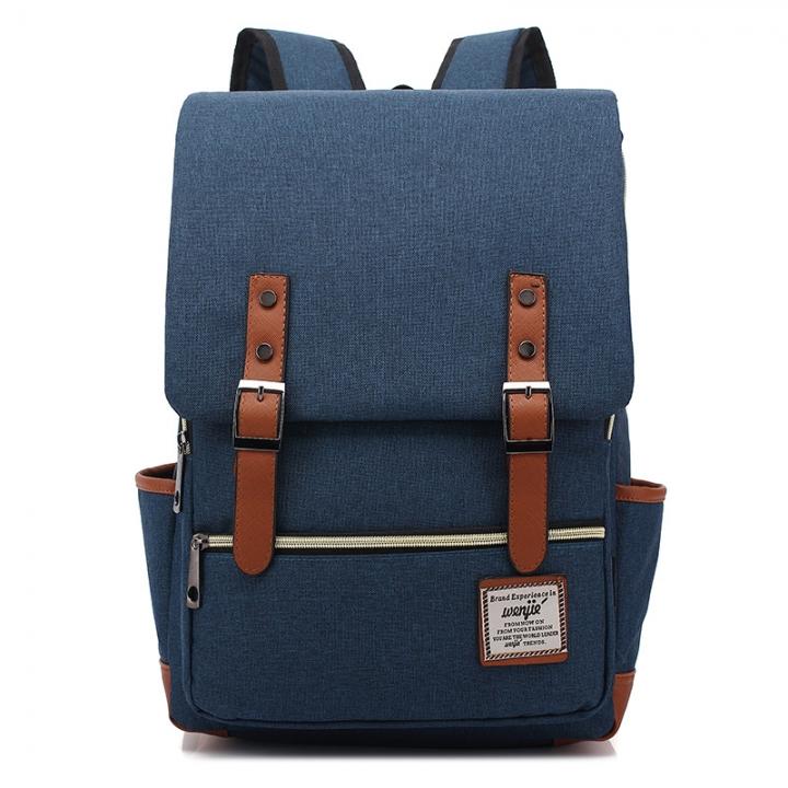 ISEEN Brand Canvas Business Laptop Backpack, Slim Anti Theft Computer Bag,  College School Backpack deep blue 39cm*42cm*5cm