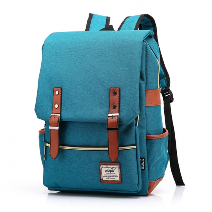 ISEEN Brand Canvas Business Laptop Backpack, Slim Anti Theft Computer Bag,  College School Backpack peacock blue 39cm*42cm*5cm