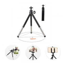 ISEEN Brand Phone /camera tripod stand with Cell Phone Holder Clip two sections Portable Waterproof black 25cm height