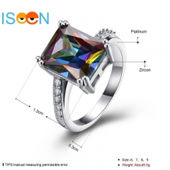 ISEEN Cubic Zirconia ring for Beautiful Lady Wedding and anniversary Romantic Experience silver 6