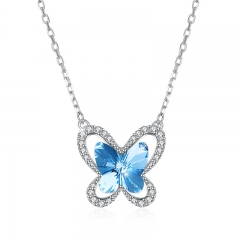 ISEEN Brand S925 Sterling Silvernecklace with crystal butterfly shape from swarovski light blue as picture in detail