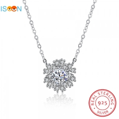 ISEEN Brand S925 Sterling Silvernecklace with Snowflake Pendant Anniversary Gifts for Women silver chain length:40cm