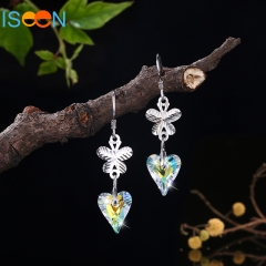 ISEEN Brand S925 Sterling Silver Hook Dangle Earrings Made with Swarovski Crystals silver 4cm*1cm