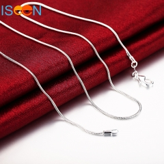 ISEEN Brand (16inch-24inch) Silver plated Snake Chain Lobster Clasp silver plated Necklace silver 16 inch