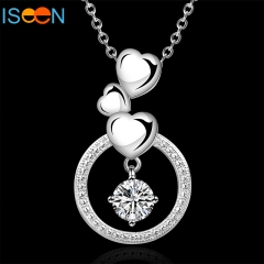 ISEEN Brand Silver plated necklace with Zirconia Diamond Pendant Anniversary Gifts for Women silver 18 inch
