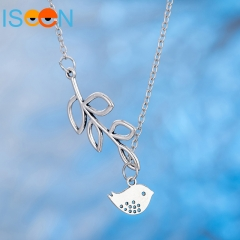 ISEEN Brand White Plated Zinc Alloynecklace with leaf and bird Pendant white 46CM+5CM