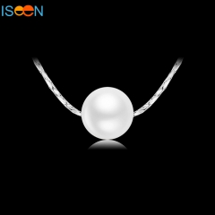 ISEEN Brand Silver PlatedBrass Material necklace with Imitation Pearl Pendant white 40CM