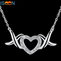 ISEEN Brand Silver Plated necklace with Zircon Material Pendant for elegant and graceful woman silver 45cm 45cm