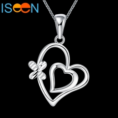 ISEEN Brand Silver plated necklace with Heart Butterfly Shape Pendant Anniversary Gift for Women silver chain length:18+2.5inch
