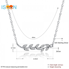 ISEEN Brand S925 Sterling Silvernecklace with Olive leaf Pendant Anniversary Gifts for Women silver chain length:40+5cm