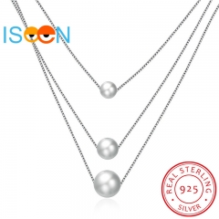 ISEEN Brand S925 Sterling Silvernecklace with Three Pearls Pendant for elegant and graceful woman silver chain length:40cm+2cm
