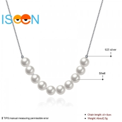 ISEEN Brand S925 Sterling Silvernecklace with Series Pearls Pendant for elegant and graceful woman silver chain length:41cm+3cm