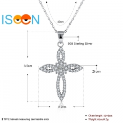 ISEEN Brand S925 Sterling Silvernecklace with Zirconia Cross Flower Shape Pendant for elegant woman silver chain length:40cm
