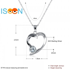 ISEEN Brand S925 Sterling Silvernecklace with Zirconia Heart-Shape Pendant for elegant woman silver chain length:40cm