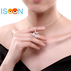 ISEEN Brand S925 Sterling Silvernecklace with Three-Butterfly Pendant Gift for Women silver chain length:39cm+3cm