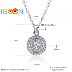 ISEEN Brand S925 Sterling Silvernecklace with trim three-circle Pendant Anniversary Gifts for Women silver chain length:40+5cm