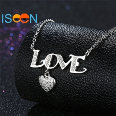 ISEEN Brand S925 Sterling Silvernecklace with Love-Shape Pendant for Being Graceful Ladies silver chain length:40cm
