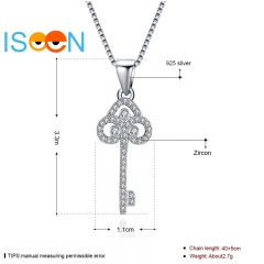 ISEEN Brand S925 Sterling Silvernecklace with Key-Chain-Diamond Pendant for Being Graceful Ladies silver chain length:40+5cm