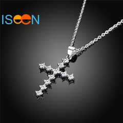 ISEEN Brand S925 Sterling SilverNecklace with Zirconia Pendant for Wedding and anniversary silver chain length:40+5cm