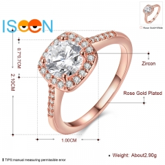 ISEEN Brand Zirconia ring for Beautiful Lady for Wedding and anniversary rose gold 6