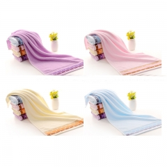 ISEEN Brand 2 pieces Cotton Bath Towels (35cm*75cm ) Luxury Perfect for Home, Bathrooms pink 35CM-75CM