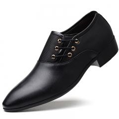 ISEEN Brand PU Leather Fashion Men Cap Toe Classic Modern Business Dress Shoes for Men black 42 PU