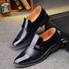 ISEEN Brand PU Leather Fashion Men Cap Toe Shiny Modern Business Shoes for Meni black 42 pu