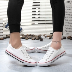 ISEEN Brand Pretty Casual Canvas Shoes Solid Colors Low Top Lace up Flat Fashion white 38