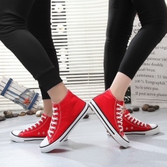 ISEEN Brand Womens Fashion Canvas Sneaker high Cut Lace red 38
