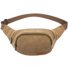 ISEEN Brand Unisex Canvas Pack Lightweight Classic Anti Theft Travel Waist Bag khaki 27cm*5cm*14cm