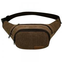 ISEEN Brand Unisex Canvas Pack Lightweight Classic Anti Theft Travel Waist Bag coffee 27cm*5cm*14cm