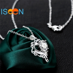 ISEEN Brand Brass Material Silver PlatedHeart Shape Zirconia Pendant Anniversary Gifts for Women silver 18 inch