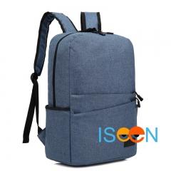 ISEEN Brand Canvas Backpack Women Men Large Capacity Laptop Student School Bags for Travel blue 28.5cm*13.5cm*42.5cm