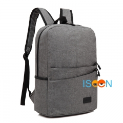 ISEEN Brand Canvas Backpack Women Men Large Capacity Laptop Student School Bags for Travel light grey 28.5cm*13.5cm*42.5cm